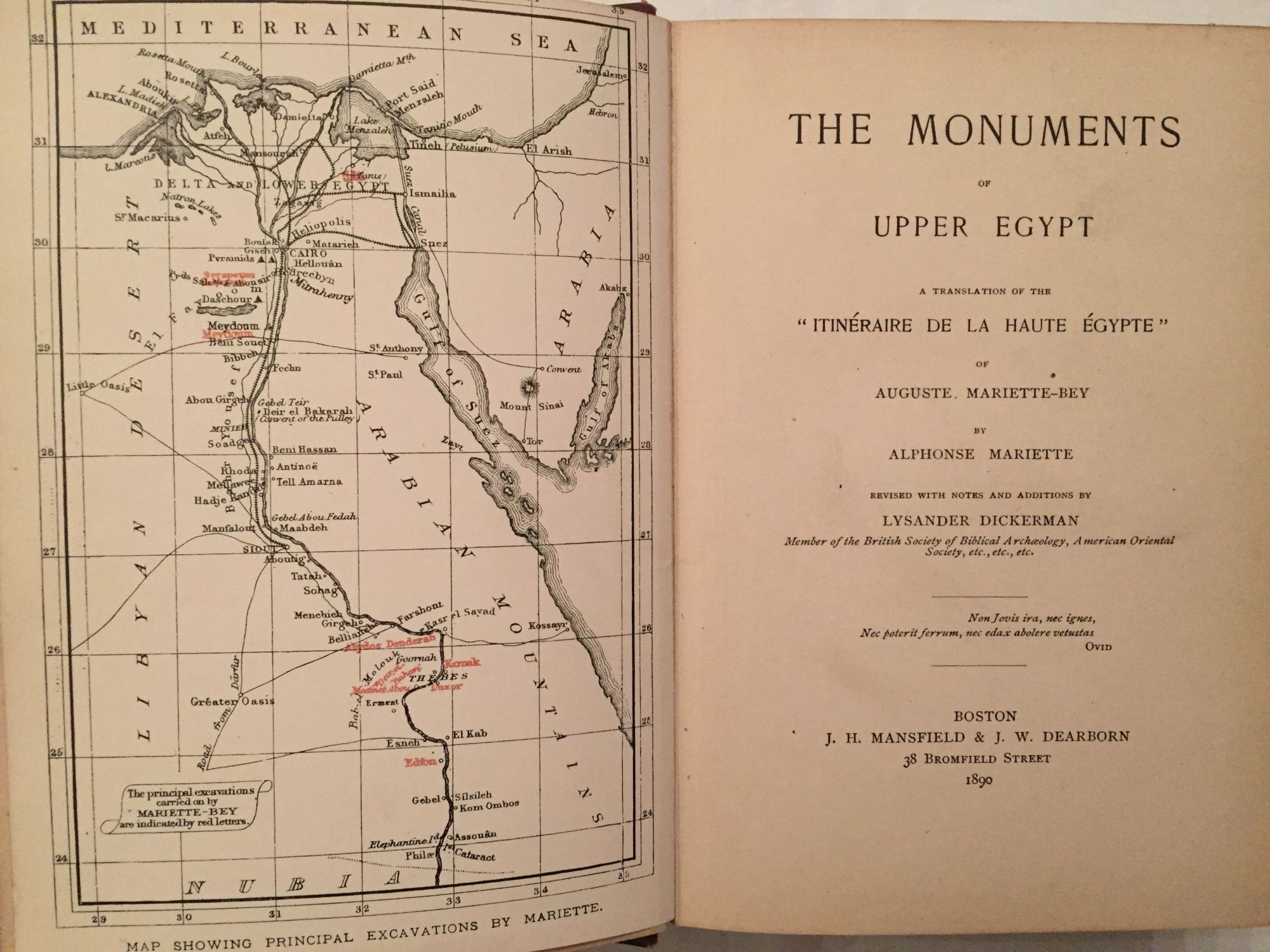 monuments of upper egypt english translation of