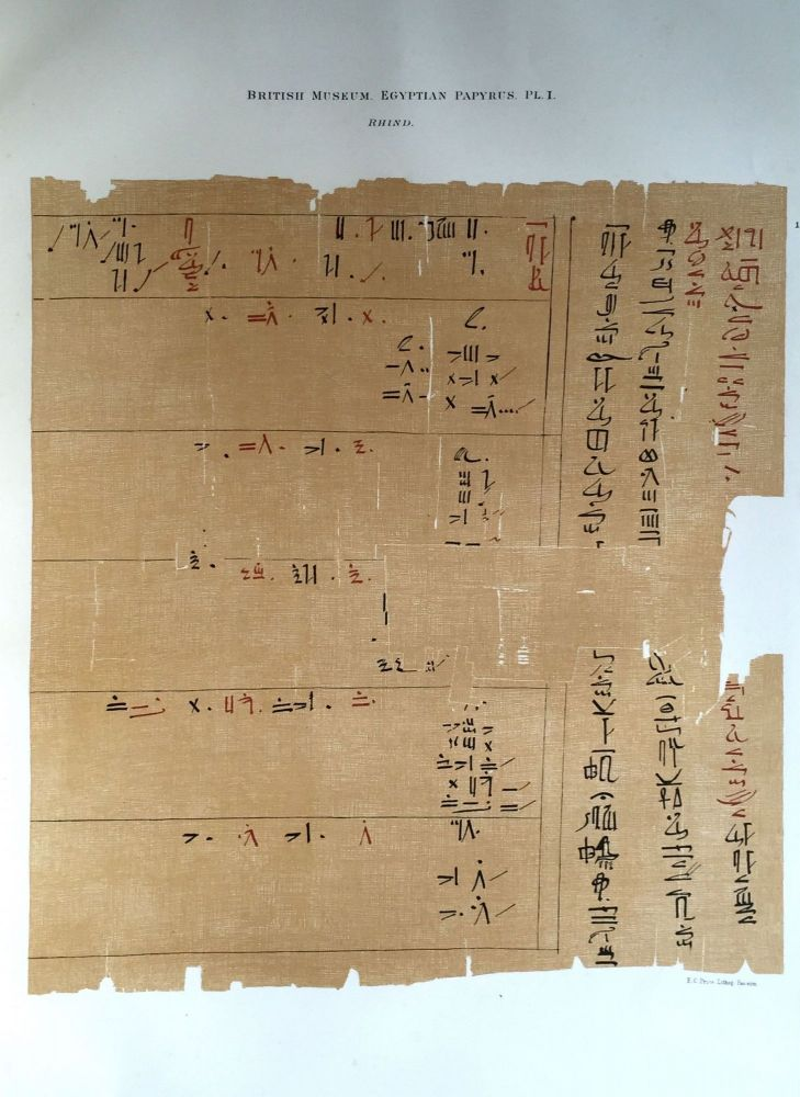 Facsimilé of the Rhind mathematical papyrus. BUDGE Ernest Alfred Wallis.[newline]M0265a.jpg