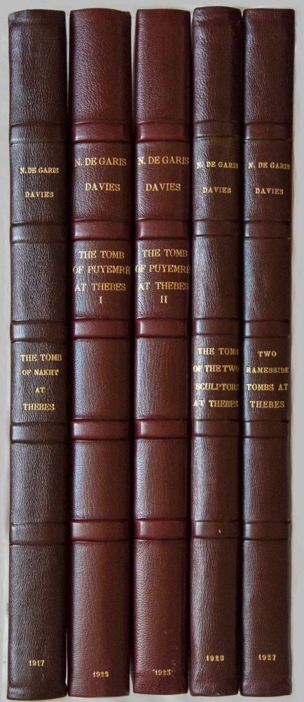 Robb de Peyster Tytus series, complete set of 5 volumes. Vol. I: The tomb of Nakht. Vol. II: The tomb of Puyemre. Part I: The hall of memories. Vol. III: The tomb of Puyemre. Part II: The chapels of hope. Vol. IV: The tomb of the two sculptors at Thebes. Vol. V: Two ramesside tombs at Thebes. DAVIES Norman de Garis.[newline]M0421.jpg