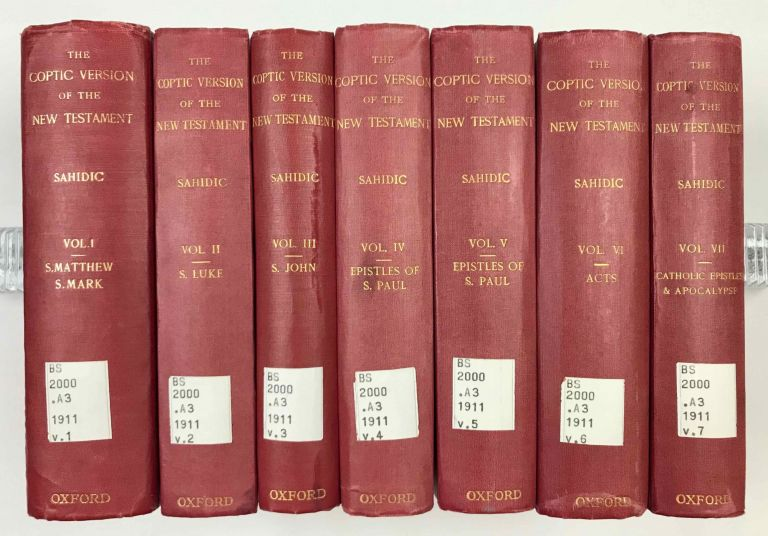 The Coptic version of the New Testament in the Southern dialect otherwise called Sahidic and Thebaic, 7 volumes (complete set). HORNER George W.[newline]M0817d.jpeg
