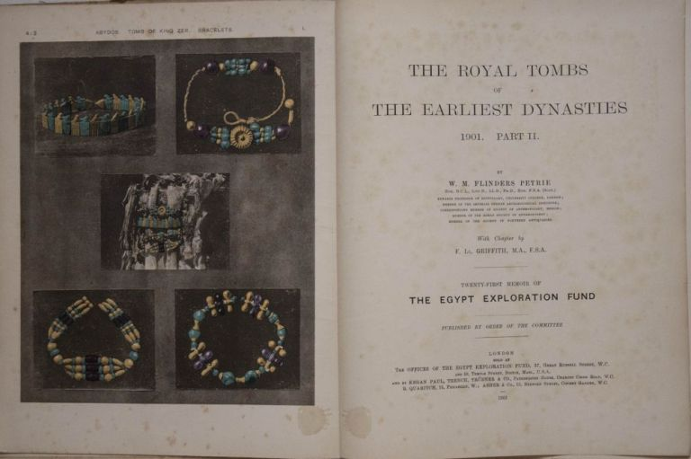 The royal tombs of the First dynasty. Part I & II (complete set) + rare supplement of 35 extra-plates. PETRIE William M. Flinders.[newline]M1324b.jpg