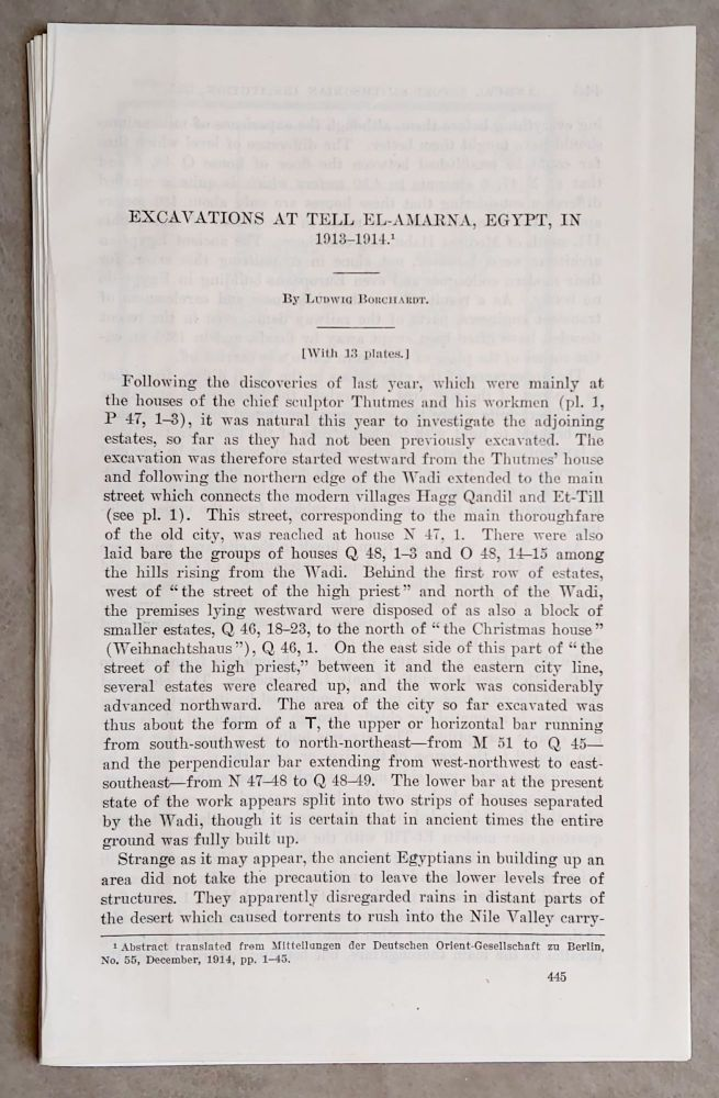 Excavations at Tell el-Amarna, Egypt, in 1913-1914 (From the Smithsonian Report for 1915). BORCHARDT Ludwig.[newline]M1902b.jpeg