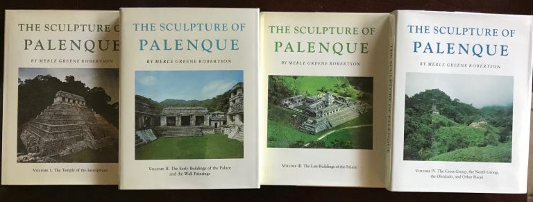 The Sculpture of Palenque. 4 volumes. Volume I: The Temple of the Inscriptions. Volume II: The Early Buildings of the Palace and the Wall Paintings. Volume III: The late Buildings of the Palace. Volume IV: The Cross Group, The North Group, The Olvidado and Other Pieces (complete set). ROBERTSON Merle Greene.[newline]M4570.jpg