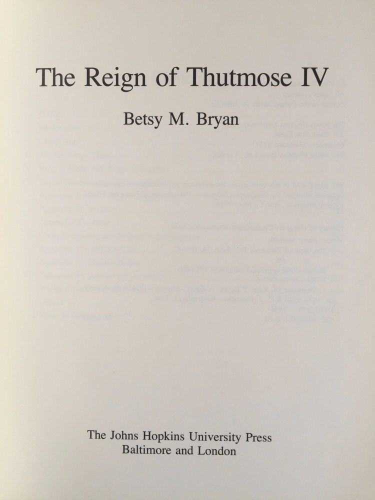 The reign of Thutmose IV. BRYAN Betsy M.[newline]M4885-01.jpg