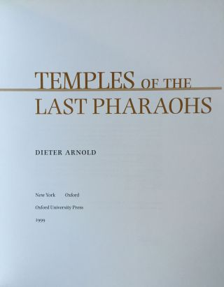 Temples of the last pharaohs. ARNOLD Dieter[newline]M0091a-01.jpg