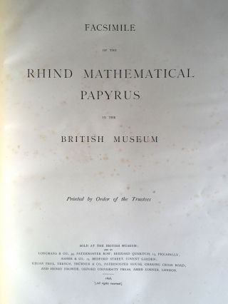 Facsimilé of the Rhind mathematical papyrus[newline]M0265a-03.jpg