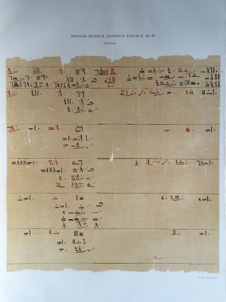 Facsimilé of the Rhind mathematical papyrus[newline]M0265a-09.jpg