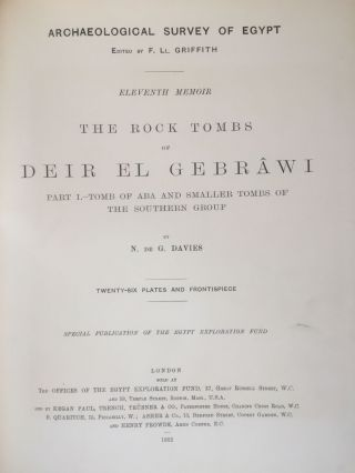 The rock tombs of Deir el-Gebrawi. Part I: Tomb of Aba and smaller tombs of the southern group. Part II: Tomb of Zau and tombs of the northern group (complete set)[newline]M0407e-04.jpg