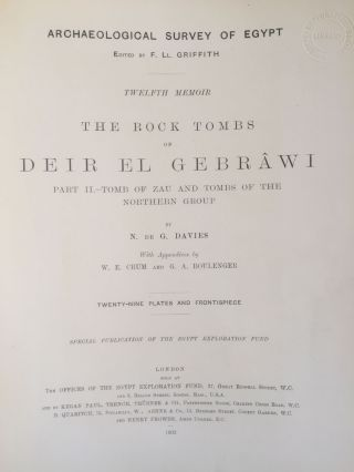The rock tombs of Deir el-Gebrawi. Part I: Tomb of Aba and smaller tombs of the southern group. Part II: Tomb of Zau and tombs of the northern group (complete set)[newline]M0407e-12.jpg