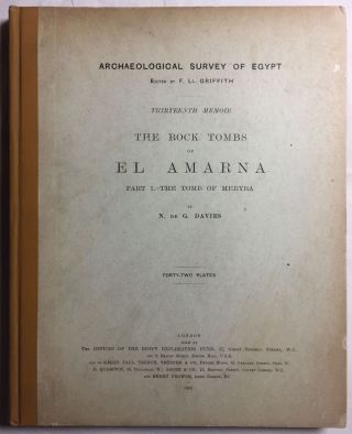 The rock tombs of Tell el-Amarna. Complete set of 6 volumes in the FIRST EDITION. Part I: The Tomb of Meryra.[newline]M0410-01.jpg