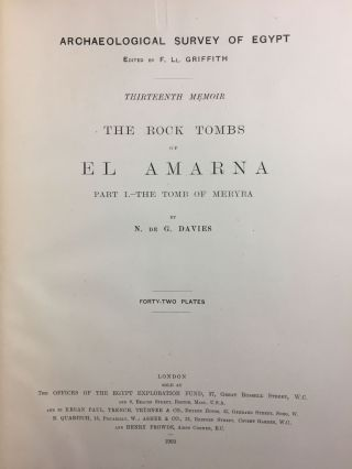 The rock tombs of Tell el-Amarna. Complete set of 6 volumes in the FIRST EDITION. Part I: The Tomb of Meryra.[newline]M0410-03.jpg