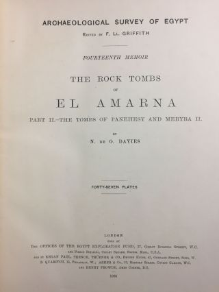 The rock tombs of Tell el-Amarna. Complete set of 6 volumes in the FIRST EDITION. Part I: The Tomb of Meryra.[newline]M0410-12.jpg