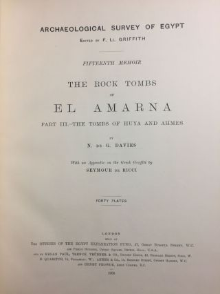 The rock tombs of Tell el-Amarna. Complete set of 6 volumes in the FIRST EDITION. Part I: The Tomb of Meryra.[newline]M0410-18.jpg