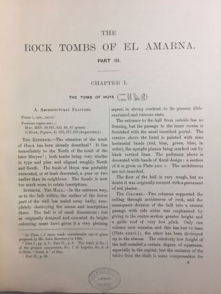 The rock tombs of Tell el-Amarna. Complete set of 6 volumes in the FIRST EDITION. Part I: The Tomb of Meryra.[newline]M0410-20.jpg