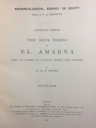 The rock tombs of Tell el-Amarna. Complete set of 6 volumes in the FIRST EDITION. Part I: The Tomb of Meryra.[newline]M0410-25.jpg