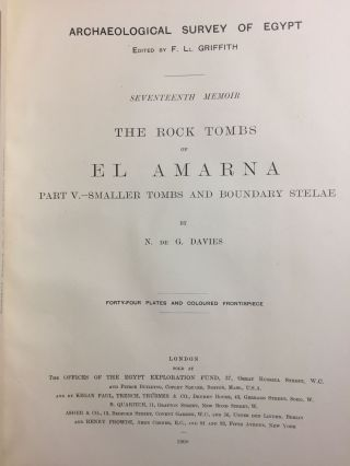 The rock tombs of Tell el-Amarna. Complete set of 6 volumes in the FIRST EDITION. Part I: The Tomb of Meryra.[newline]M0410-34.jpg