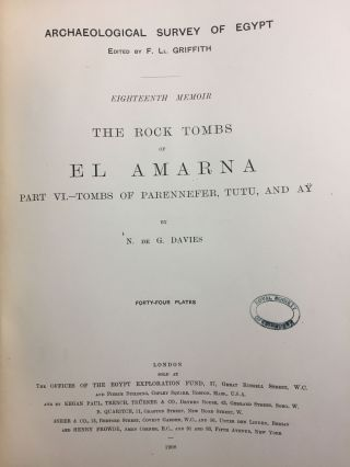 The rock tombs of Tell el-Amarna. Complete set of 6 volumes in the FIRST EDITION. Part I: The Tomb of Meryra.[newline]M0410-52.jpg