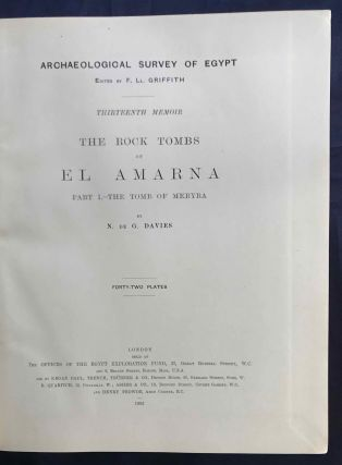 The rock tombs of Tell el-Amarna. Complete set of 6 volumes. Part I: The Tomb of Meryra. Part II: The Tombs of Panehesy and Meryra II. Part III: The Tombs of Huya and Ahmes. Part IV: Tombs of Penthu, Mahu, and Others. Part V: Smaller Tombs and Boundary Stelae. Part VI: Tombs of Parennefer, Tutu, and Aÿ (complete set)[newline]M0410h-02.jpg