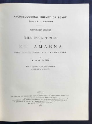 The rock tombs of Tell el-Amarna. Complete set of 6 volumes. Part I: The Tomb of Meryra. Part II: The Tombs of Panehesy and Meryra II. Part III: The Tombs of Huya and Ahmes. Part IV: Tombs of Penthu, Mahu, and Others. Part V: Smaller Tombs and Boundary Stelae. Part VI: Tombs of Parennefer, Tutu, and Aÿ (complete set)[newline]M0410h-17.jpg