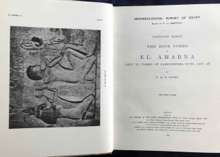 The rock tombs of Tell el-Amarna. Complete set of 6 volumes. Part I: The Tomb of Meryra. Part II: The Tombs of Panehesy and Meryra II. Part III: The Tombs of Huya and Ahmes. Part IV: Tombs of Penthu, Mahu, and Others. Part V: Smaller Tombs and Boundary Stelae. Part VI: Tombs of Parennefer, Tutu, and Aÿ (complete set)[newline]M0410h-31.jpg