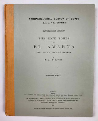 The rock tombs of Tell el-Amarna. Complete set of 6 volumes. Part I: The Tomb of Meryra. Part II: The Tombs of Panehesy and Meryra II. Part III: The Tombs of Huya and Ahmes. Part IV: Tombs of Penthu, Mahu, and Others. Part V: Smaller Tombs and Boundary Stelae. Part VI: Tombs of Parennefer, Tutu, and Aÿ (complete set)[newline]M0410j-02.jpeg