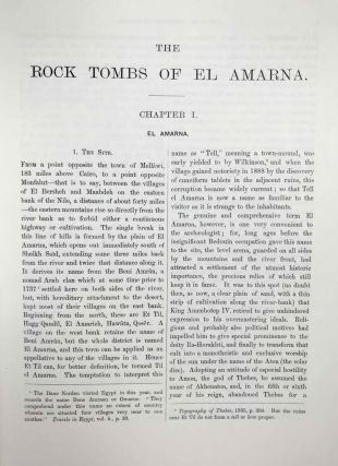 The rock tombs of Tell el-Amarna. Complete set of 6 volumes. Part I: The Tomb of Meryra. Part II: The Tombs of Panehesy and Meryra II. Part III: The Tombs of Huya and Ahmes. Part IV: Tombs of Penthu, Mahu, and Others. Part V: Smaller Tombs and Boundary Stelae. Part VI: Tombs of Parennefer, Tutu, and Aÿ (complete set)[newline]M0410j-05.jpeg