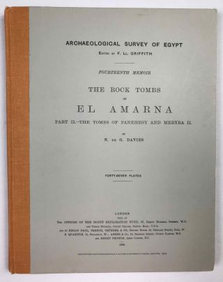 The rock tombs of Tell el-Amarna. Complete set of 6 volumes. Part I: The Tomb of Meryra. Part II: The Tombs of Panehesy and Meryra II. Part III: The Tombs of Huya and Ahmes. Part IV: Tombs of Penthu, Mahu, and Others. Part V: Smaller Tombs and Boundary Stelae. Part VI: Tombs of Parennefer, Tutu, and Aÿ (complete set)[newline]M0410j-14.jpeg
