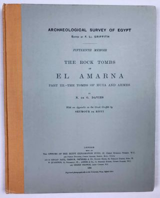 The rock tombs of Tell el-Amarna. Complete set of 6 volumes. Part I: The Tomb of Meryra. Part II: The Tombs of Panehesy and Meryra II. Part III: The Tombs of Huya and Ahmes. Part IV: Tombs of Penthu, Mahu, and Others. Part V: Smaller Tombs and Boundary Stelae. Part VI: Tombs of Parennefer, Tutu, and Aÿ (complete set)[newline]M0410j-23.jpeg