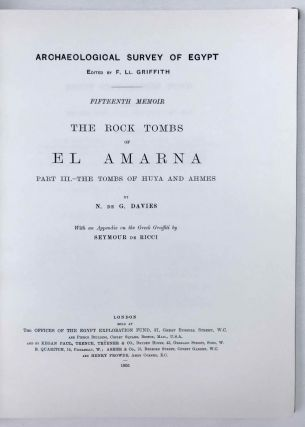 The rock tombs of Tell el-Amarna. Complete set of 6 volumes. Part I: The Tomb of Meryra. Part II: The Tombs of Panehesy and Meryra II. Part III: The Tombs of Huya and Ahmes. Part IV: Tombs of Penthu, Mahu, and Others. Part V: Smaller Tombs and Boundary Stelae. Part VI: Tombs of Parennefer, Tutu, and Aÿ (complete set)[newline]M0410j-24.jpeg