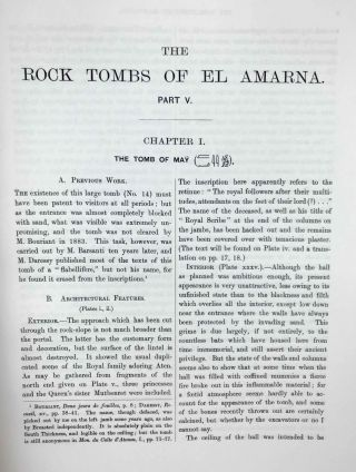 The rock tombs of Tell el-Amarna. Complete set of 6 volumes. Part I: The Tomb of Meryra. Part II: The Tombs of Panehesy and Meryra II. Part III: The Tombs of Huya and Ahmes. Part IV: Tombs of Penthu, Mahu, and Others. Part V: Smaller Tombs and Boundary Stelae. Part VI: Tombs of Parennefer, Tutu, and Aÿ (complete set)[newline]M0410j-42.jpeg