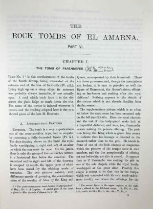The rock tombs of Tell el-Amarna. Complete set of 6 volumes. Part I: The Tomb of Meryra. Part II: The Tombs of Panehesy and Meryra II. Part III: The Tombs of Huya and Ahmes. Part IV: Tombs of Penthu, Mahu, and Others. Part V: Smaller Tombs and Boundary Stelae. Part VI: Tombs of Parennefer, Tutu, and Aÿ (complete set)[newline]M0410j-51.jpeg