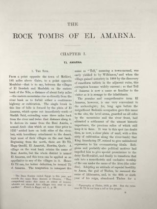 The rock tombs of Tell el-Amarna. Complete set of 6 volumes. Part I: The Tomb of Meryra. Part II: The Tombs of Panehesy and Meryra II. Part III: The Tombs of Huya and Ahmes. Part IV: Tombs of Penthu, Mahu, and Others. Part V: Smaller Tombs and Boundary Stelae. Part VI: Tombs of Parennefer, Tutu, and Aÿ (complete set)[newline]M0410m-07.jpeg