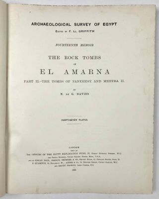 The rock tombs of Tell el-Amarna. Complete set of 6 volumes. Part I: The Tomb of Meryra. Part II: The Tombs of Panehesy and Meryra II. Part III: The Tombs of Huya and Ahmes. Part IV: Tombs of Penthu, Mahu, and Others. Part V: Smaller Tombs and Boundary Stelae. Part VI: Tombs of Parennefer, Tutu, and Aÿ (complete set)[newline]M0410m-15.jpeg