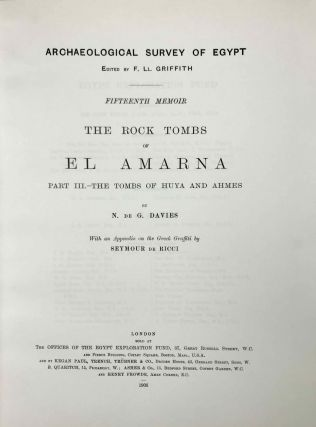 The rock tombs of Tell el-Amarna. Complete set of 6 volumes. Part I: The Tomb of Meryra. Part II: The Tombs of Panehesy and Meryra II. Part III: The Tombs of Huya and Ahmes. Part IV: Tombs of Penthu, Mahu, and Others. Part V: Smaller Tombs and Boundary Stelae. Part VI: Tombs of Parennefer, Tutu, and Aÿ (complete set)[newline]M0410m-27.jpeg