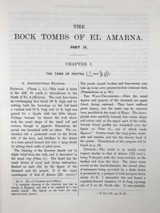 The rock tombs of Tell el-Amarna. Complete set of 6 volumes. Part I: The Tomb of Meryra. Part II: The Tombs of Panehesy and Meryra II. Part III: The Tombs of Huya and Ahmes. Part IV: Tombs of Penthu, Mahu, and Others. Part V: Smaller Tombs and Boundary Stelae. Part VI: Tombs of Parennefer, Tutu, and Aÿ (complete set)[newline]M0410m-39.jpeg