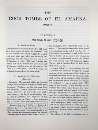 The rock tombs of Tell el-Amarna. Complete set of 6 volumes. Part I: The Tomb of Meryra. Part II: The Tombs of Panehesy and Meryra II. Part III: The Tombs of Huya and Ahmes. Part IV: Tombs of Penthu, Mahu, and Others. Part V: Smaller Tombs and Boundary Stelae. Part VI: Tombs of Parennefer, Tutu, and Aÿ (complete set)[newline]M0410m-50.jpeg