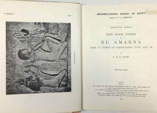 The rock tombs of Tell el-Amarna. Complete set of 6 volumes. Part I: The Tomb of Meryra. Part II: The Tombs of Panehesy and Meryra II. Part III: The Tombs of Huya and Ahmes. Part IV: Tombs of Penthu, Mahu, and Others. Part V: Smaller Tombs and Boundary Stelae. Part VI: Tombs of Parennefer, Tutu, and Aÿ (complete set)[newline]M0410m-58.jpeg