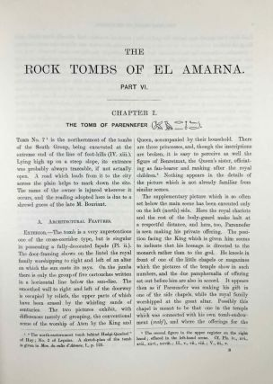 The rock tombs of Tell el-Amarna. Complete set of 6 volumes. Part I: The Tomb of Meryra. Part II: The Tombs of Panehesy and Meryra II. Part III: The Tombs of Huya and Ahmes. Part IV: Tombs of Penthu, Mahu, and Others. Part V: Smaller Tombs and Boundary Stelae. Part VI: Tombs of Parennefer, Tutu, and Aÿ (complete set)[newline]M0410m-60.jpeg