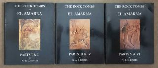 The rock tombs of Tell el-Amarna. Complete set of 6 volumes. Part I: The Tomb of Meryra. Part II: The Tombs of Panehesy and Meryra II. Part III: The Tombs of Huya and Ahmes. Part IV: Tombs of Penthu, Mahu, and Others. Part V: Smaller Tombs and Boundary Stelae. Part VI: Tombs of Parennefer, Tutu, and Aÿ (complete set of 6 parts in 3 volumes, 2004 reedition)[newline]M0410n-01.jpeg
