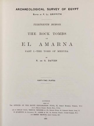 The rock tombs of Tell el-Amarna. Complete set of 6 volumes. Part I: The Tomb of Meryra. Part II: The Tombs of Panehesy and Meryra II. Part III: The Tombs of Huya and Ahmes. Part IV: Tombs of Penthu, Mahu, and Others. Part V: Smaller Tombs and Boundary Stelae. Part VI: Tombs of Parennefer, Tutu, and Aÿ (complete set of 6 parts in 3 volumes, 2004 reedition)[newline]M0410n-04.jpeg