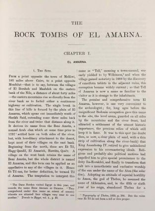 The rock tombs of Tell el-Amarna. Complete set of 6 volumes. Part I: The Tomb of Meryra. Part II: The Tombs of Panehesy and Meryra II. Part III: The Tombs of Huya and Ahmes. Part IV: Tombs of Penthu, Mahu, and Others. Part V: Smaller Tombs and Boundary Stelae. Part VI: Tombs of Parennefer, Tutu, and Aÿ (complete set of 6 parts in 3 volumes, 2004 reedition)[newline]M0410n-06.jpeg