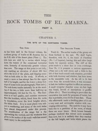 The rock tombs of Tell el-Amarna. Complete set of 6 volumes. Part I: The Tomb of Meryra. Part II: The Tombs of Panehesy and Meryra II. Part III: The Tombs of Huya and Ahmes. Part IV: Tombs of Penthu, Mahu, and Others. Part V: Smaller Tombs and Boundary Stelae. Part VI: Tombs of Parennefer, Tutu, and Aÿ (complete set of 6 parts in 3 volumes, 2004 reedition)[newline]M0410n-13.jpeg