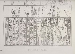The rock tombs of Tell el-Amarna. Complete set of 6 volumes. Part I: The Tomb of Meryra. Part II: The Tombs of Panehesy and Meryra II. Part III: The Tombs of Huya and Ahmes. Part IV: Tombs of Penthu, Mahu, and Others. Part V: Smaller Tombs and Boundary Stelae. Part VI: Tombs of Parennefer, Tutu, and Aÿ (complete set of 6 parts in 3 volumes, 2004 reedition)[newline]M0410n-15.jpeg