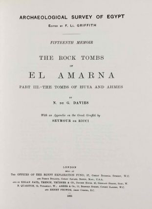The rock tombs of Tell el-Amarna. Complete set of 6 volumes. Part I: The Tomb of Meryra. Part II: The Tombs of Panehesy and Meryra II. Part III: The Tombs of Huya and Ahmes. Part IV: Tombs of Penthu, Mahu, and Others. Part V: Smaller Tombs and Boundary Stelae. Part VI: Tombs of Parennefer, Tutu, and Aÿ (complete set of 6 parts in 3 volumes, 2004 reedition)[newline]M0410n-18.jpeg