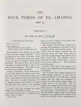 The rock tombs of Tell el-Amarna. Complete set of 6 volumes. Part I: The Tomb of Meryra. Part II: The Tombs of Panehesy and Meryra II. Part III: The Tombs of Huya and Ahmes. Part IV: Tombs of Penthu, Mahu, and Others. Part V: Smaller Tombs and Boundary Stelae. Part VI: Tombs of Parennefer, Tutu, and Aÿ (complete set of 6 parts in 3 volumes, 2004 reedition)[newline]M0410n-21.jpeg