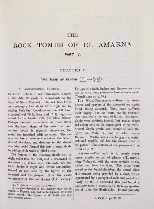 The rock tombs of Tell el-Amarna. Complete set of 6 volumes. Part I: The Tomb of Meryra. Part II: The Tombs of Panehesy and Meryra II. Part III: The Tombs of Huya and Ahmes. Part IV: Tombs of Penthu, Mahu, and Others. Part V: Smaller Tombs and Boundary Stelae. Part VI: Tombs of Parennefer, Tutu, and Aÿ (complete set of 6 parts in 3 volumes, 2004 reedition)[newline]M0410n-26.jpeg