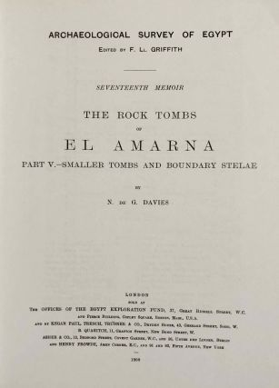 The rock tombs of Tell el-Amarna. Complete set of 6 volumes. Part I: The Tomb of Meryra. Part II: The Tombs of Panehesy and Meryra II. Part III: The Tombs of Huya and Ahmes. Part IV: Tombs of Penthu, Mahu, and Others. Part V: Smaller Tombs and Boundary Stelae. Part VI: Tombs of Parennefer, Tutu, and Aÿ (complete set of 6 parts in 3 volumes, 2004 reedition)[newline]M0410n-31.jpeg