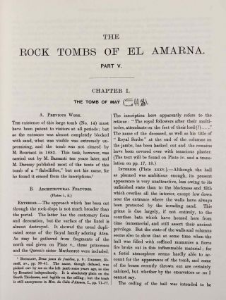 The rock tombs of Tell el-Amarna. Complete set of 6 volumes. Part I: The Tomb of Meryra. Part II: The Tombs of Panehesy and Meryra II. Part III: The Tombs of Huya and Ahmes. Part IV: Tombs of Penthu, Mahu, and Others. Part V: Smaller Tombs and Boundary Stelae. Part VI: Tombs of Parennefer, Tutu, and Aÿ (complete set of 6 parts in 3 volumes, 2004 reedition)[newline]M0410n-34.jpeg
