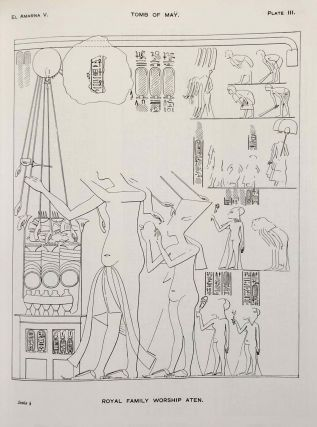 The rock tombs of Tell el-Amarna. Complete set of 6 volumes. Part I: The Tomb of Meryra. Part II: The Tombs of Panehesy and Meryra II. Part III: The Tombs of Huya and Ahmes. Part IV: Tombs of Penthu, Mahu, and Others. Part V: Smaller Tombs and Boundary Stelae. Part VI: Tombs of Parennefer, Tutu, and Aÿ (complete set of 6 parts in 3 volumes, 2004 reedition)[newline]M0410n-36.jpeg