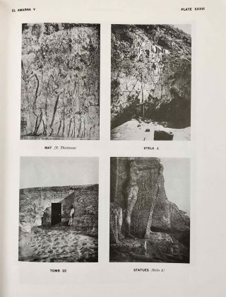 The rock tombs of Tell el-Amarna. Complete set of 6 volumes. Part I: The Tomb of Meryra. Part II: The Tombs of Panehesy and Meryra II. Part III: The Tombs of Huya and Ahmes. Part IV: Tombs of Penthu, Mahu, and Others. Part V: Smaller Tombs and Boundary Stelae. Part VI: Tombs of Parennefer, Tutu, and Aÿ (complete set of 6 parts in 3 volumes, 2004 reedition)[newline]M0410n-37.jpeg